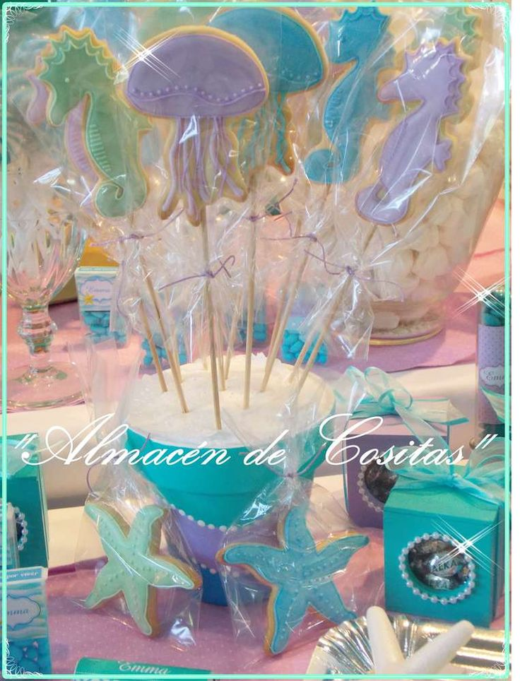 Cookie pops at a mermaid birthday party! See more party ideas at CatchMyParty.com!