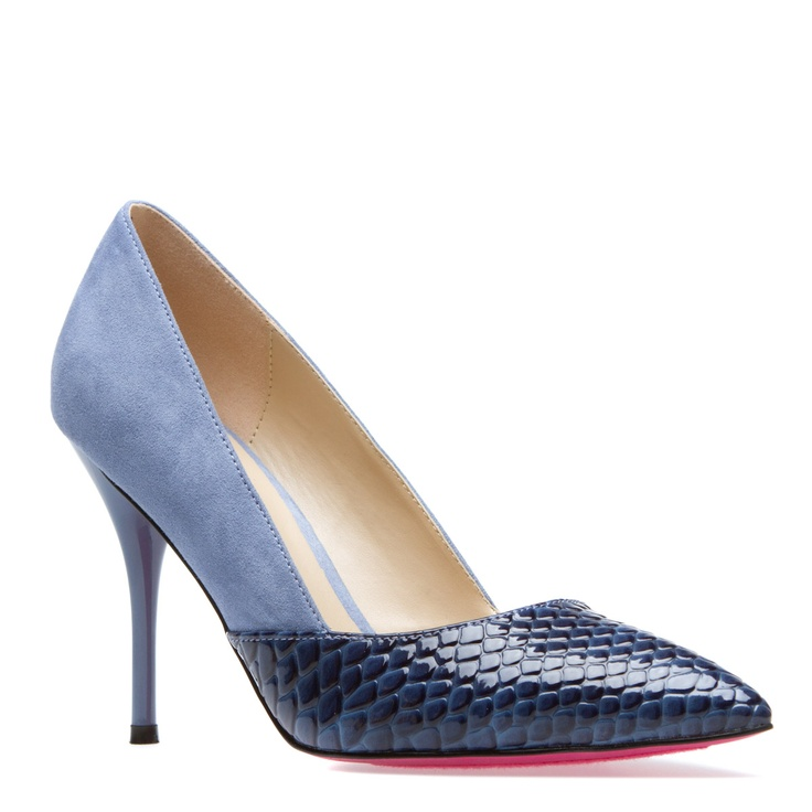 """Kira blue 4"""" faux suede and snake heel at ShoeDazzle $39.99 http://www.shoedazzle.com/invite/l6ai37o5t"""