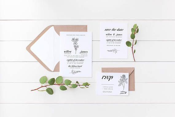Botanic Flora Wedding Invitation Suite the Elisabeth Suite