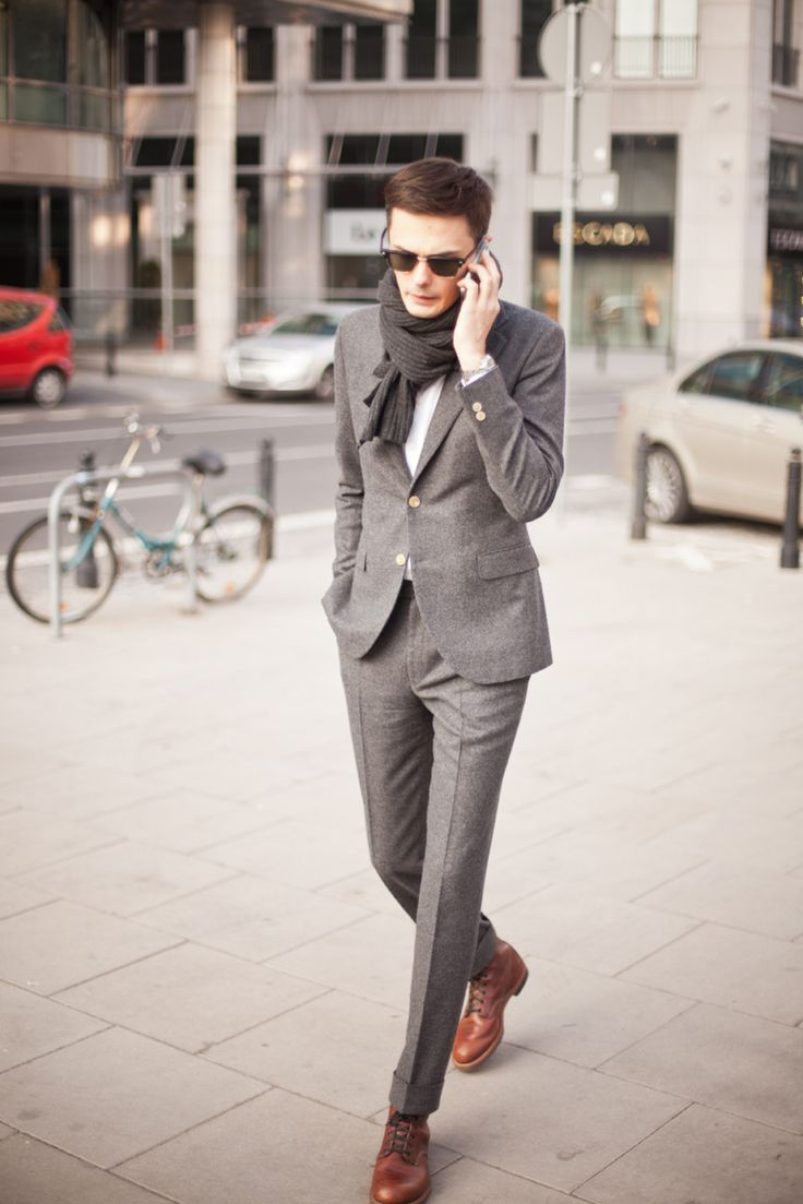 brown shoes + gray suit = amazing | Fashion