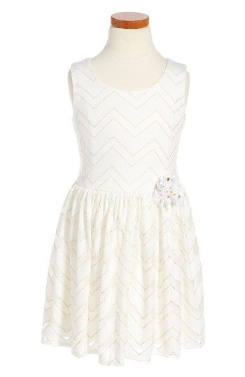 Free shipping and returns on Pippa & Julie Metallic Chevron Dress (Toddler Girls & Little Girls) at Nordstrom.com. A sleeveless party dress is illuminated with metallic chevron stripes and finished with a flower appliqué at the waist.