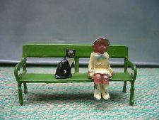 Vintage Britains Lead Garden Platform bench, John Hill Little Girl & Station Cat