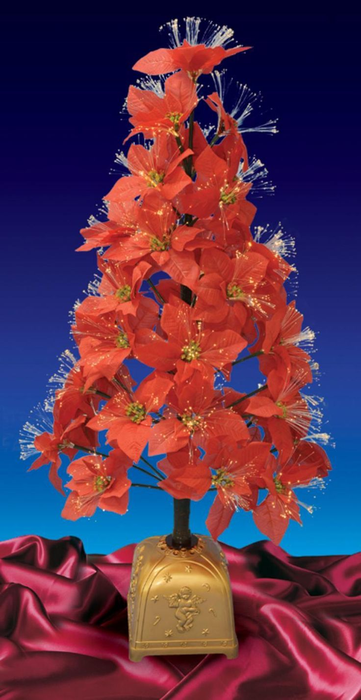 4' Pre-Lit Color Changing Fiber Optic Red Poinsettia Christmas Tree