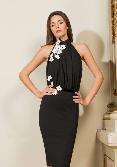 Love love Black Friday 2015 The gorgeous conical black dress decorated with white flowers on the bust is the is now at a special price. See more about Black Friday offer at www.lovelove.ro