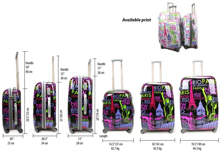 Details about Hard Shell PC 4 Wheel Suitcase ABS NY Printed Cabin ...
