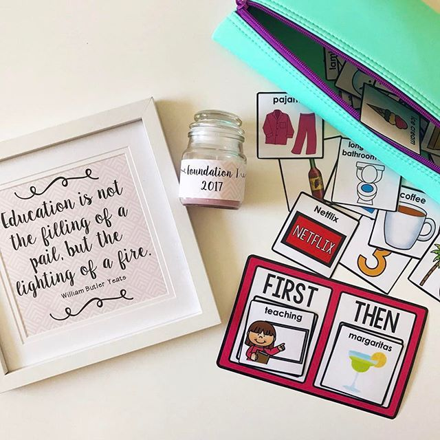 new year + new teaching team = presents! 💕 The frame and candle is from @kmartaus and the cute and very entertaining First and Then pack is from @especiallyeducation 💕 ausb2s2017    #Regram via @misstessclassroom