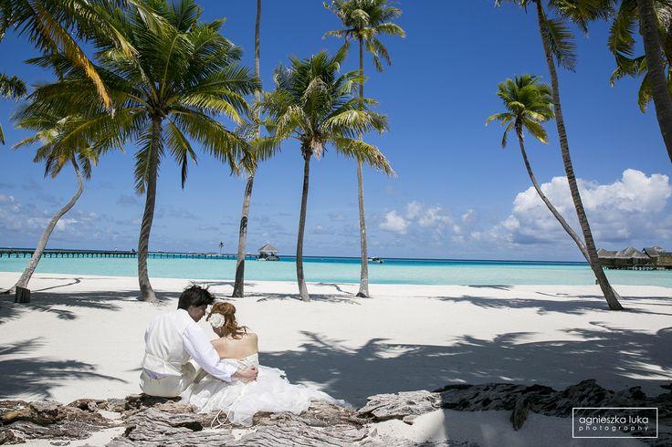 Maldives sand sea palms trees wedding