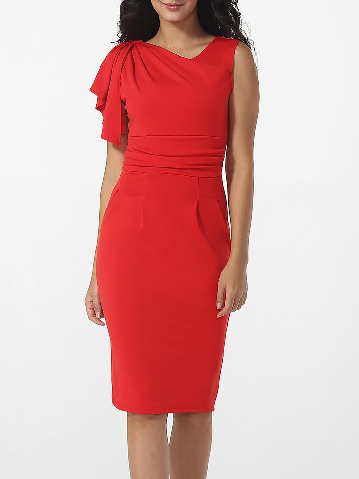 Bodycon Dresses Shoulder Bodice Plain Pleated One europe long