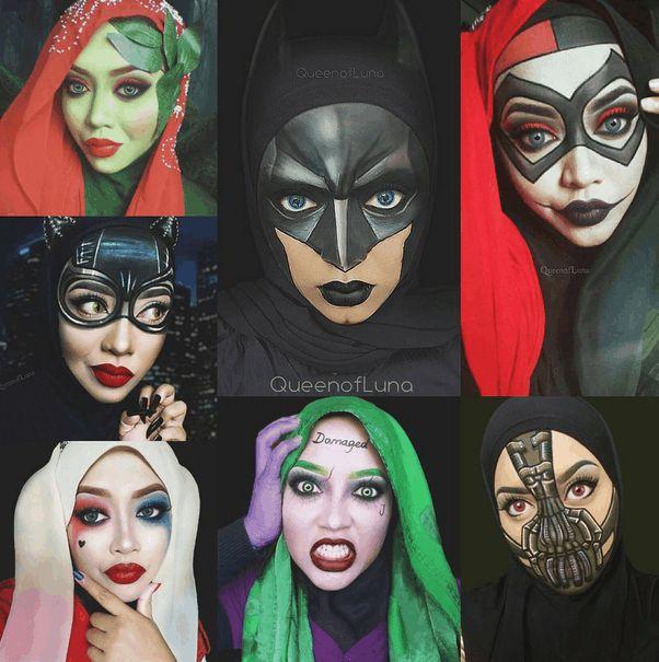 Maquillaje inspirado en hiedra Venenosa, batman, Harley quinn 1, Bati chica, Haley quinn 2, Wason, Bane.