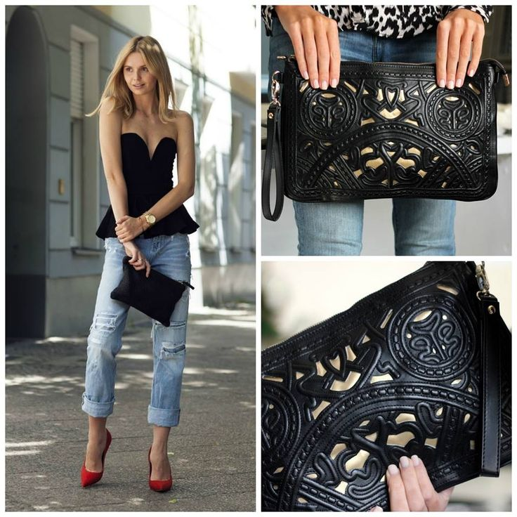 Make a an outfit like this even more unique with The Black Clutch available now from www.trendabelle.com