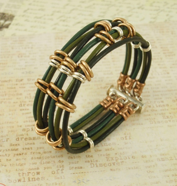 Linked Leather Bracelet - Green Tones, Bronze and Sterling Silver. $60.00, via Etsy.