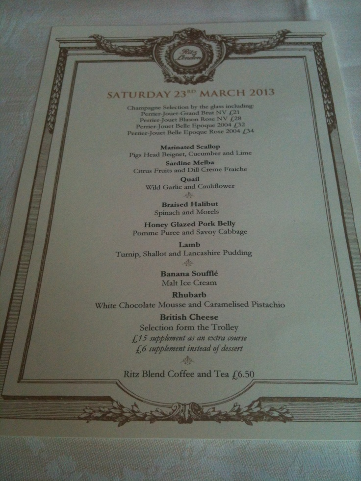 Lunch at The Ritz, March 2013