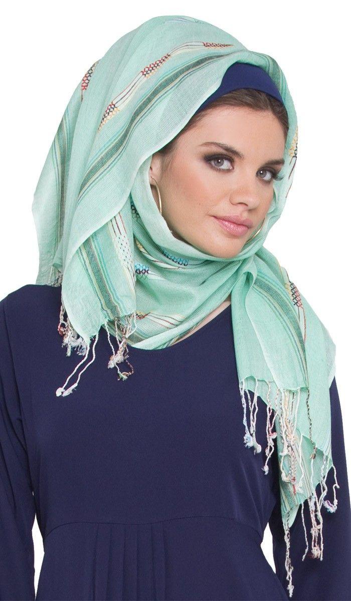Mint Green Multi Striped Hijab Scarf - Islamic hijabs - Islamic scarves at Artizara.com