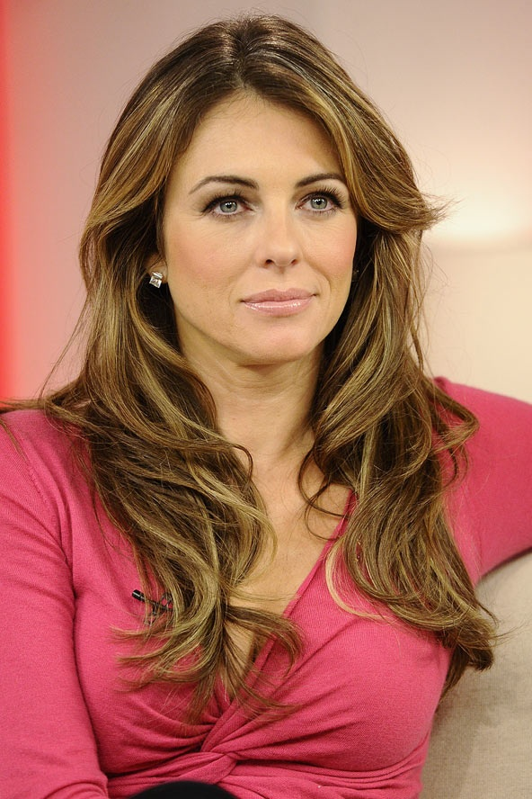 Liz Hurley S Brunette Curls Celebrity Hair And
