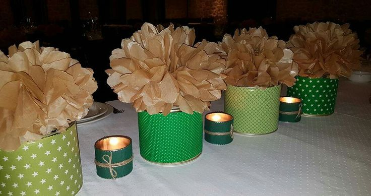 Green boxes with pompons