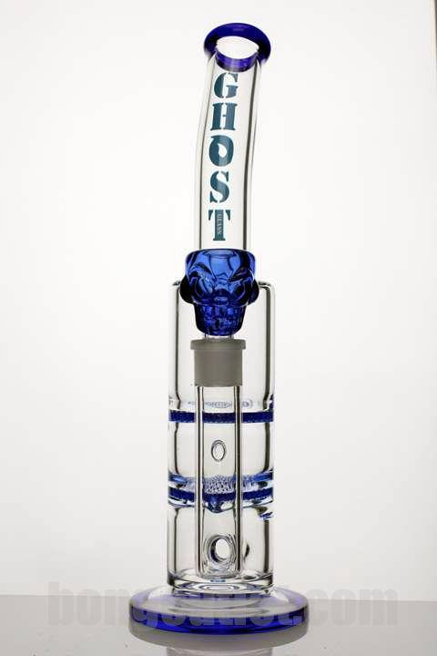 "13"" [GHOST] Double flat duffuser glass water bong - Bl"