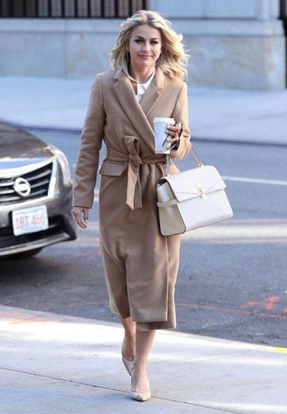 Spotted! Julianne Hough styles her Uptown Satchel with a chic camel coat in NYC.