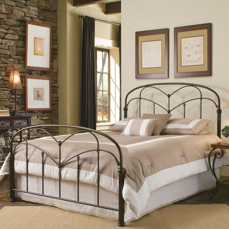 Fashion Bed Group Pomona Complete Bed With Arched Metal Grills And Detailed Posts Hazelnut Finish Bed Styling Sanctuary Bedroom California King Size Bed Frame