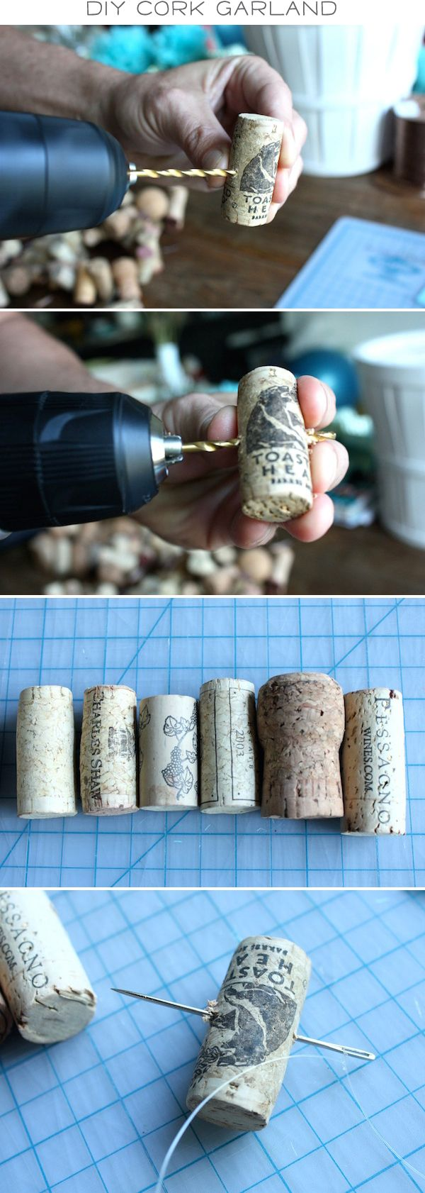 DIY cork garland ♥ wrap up with lighted garland for the, fireplace!