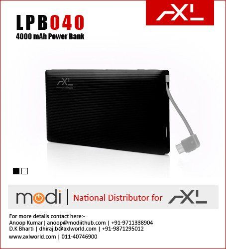 Li-Polymer with 4000 mAh, fast charging @1.5A output and having light weight.