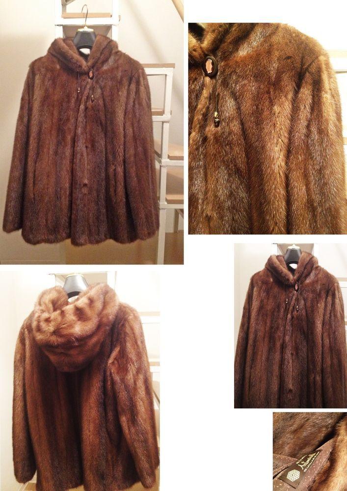 Pelliccia_Visone_Mink_Wild_Fur_Demi_Buff_ Jacket _Hood_Made_in_Italy_Vintage