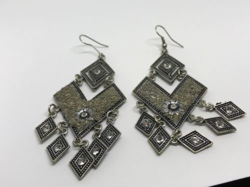 Silver Tone Fashion Earrings With Crystal | eBay