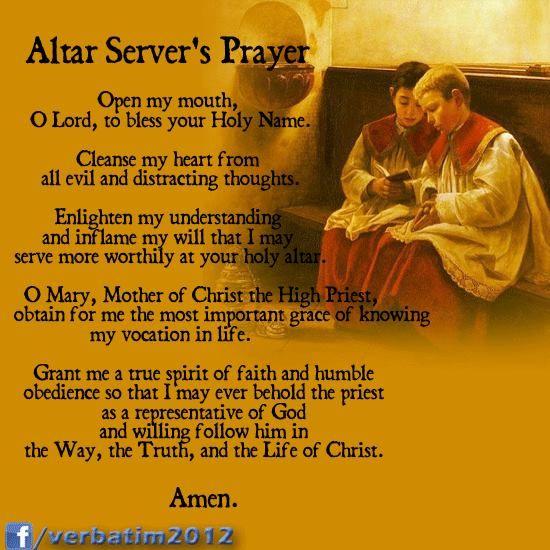 Altar Server's Prayer...I Think I'll Make Holy Cards For