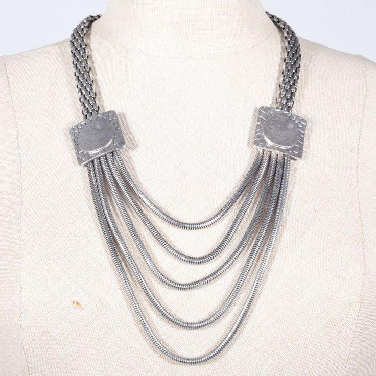 Halskette Kette Metall Desing Designer Vintage ~ 70er 80er Jahre silbern
