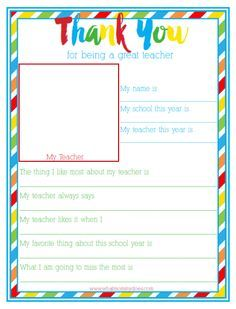 {FREE PRINTABLE} Thank You for Being a Great Teacher End of Year Teacher Thank You Gift Idea - Preschool / Elementary School Student Interview. Such a cute way to end the school year! A survey your child can take.