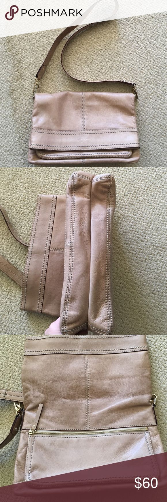 Kate Spade crossbody/over the shoulder bag Beige color Kate Spade crossbody or over the shoulder bag. Gently used and in good condition. Lots of room in the interior with pockets. There's also an additional zippered pocket under the flap for easy access. kate spade Bags Crossbody Bags