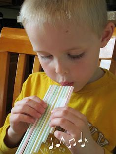 Make a Magic (Drinking Straw) Flute! The kids love it. If you use the brown tape you can write their names on it as well.