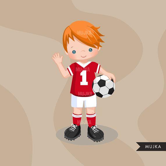 Soccer Clipart Sport Graphics Boys Soccer Player Characters Etsy Soccer Boys Sports Graphics Clip Art