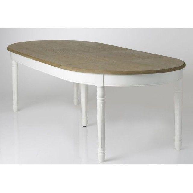 Table A Manger Ovale Extensible Bois Massif Blanc Prague Ref 30020690 Blanc Pie Salle A Manger Table Ovale Table Salle A Manger Salle A Manger Blanche Et Bois