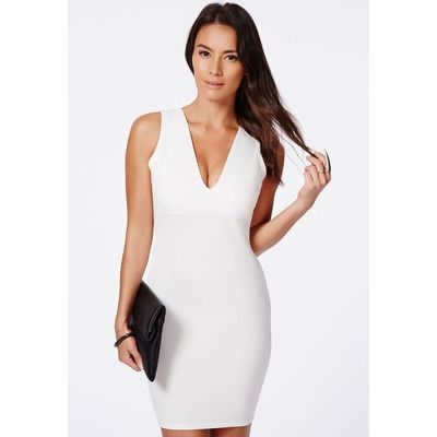 White Plunge Neck Bodycon Mini Dress, White