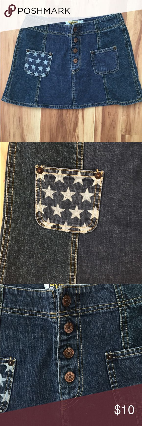 """Blue Jean Mini Skirt Stars 4th of July Very cute Skirt with stars on the pockets Perfect for 4th of July BBQ no Size looks like a small.Length 12 1/4"""" waist 14 Hysteric Glamour Skirts Mini"""