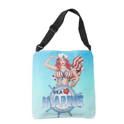#cute - #SEXY MARINE  All-Over-Print Cross Body Bag MEDIUM