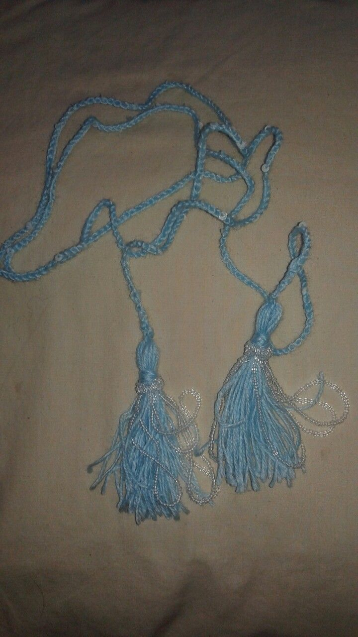 Blue tasseled bead and sequence crocheted lariat necklace (a reminder for me: When you gift things, others may not have a clue what a lariat is🤔.  Attach a descriptor) / by J. Little