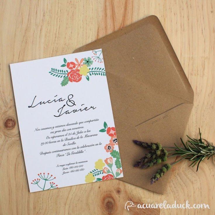 Invitaciones de boda Primavera. Invitaciones flores, invitaciones kraft. Invitación rústica.