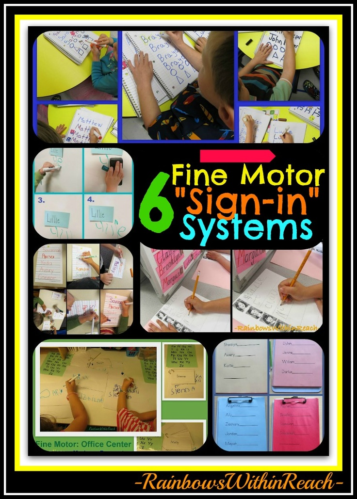 "6 Different Fine Motor ""Sign-in"" Systems used in Preschool and Kindergarten, fine motor development"