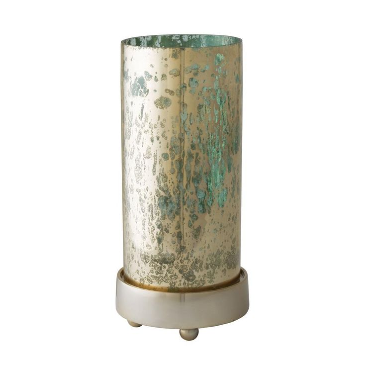 Gilded Sea 12 in. Glass And Aluminum Hurricane Candle Holder, Blues