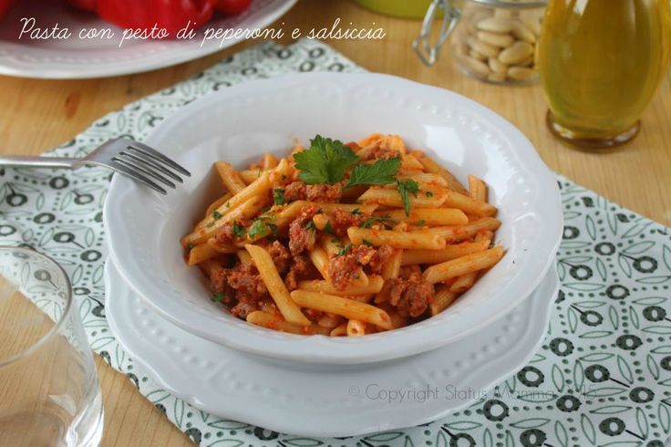 Primo pasta crema di peperoni con salsiccia semplice veloce gustoso con carne ricetta cucinare foto blogger Giallozafferano Statusmamma
