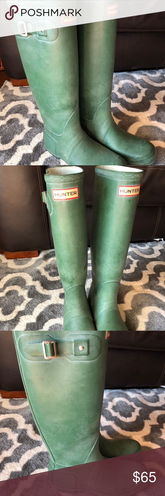 Matte green Hunter boots Women's size 8 original matte tall green hunter boots. Worn very little. Hunter Shoes Winter & Rain Boots