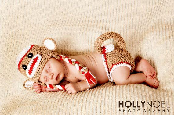 Sock Monkey Hat and Diaper Cover Newborn Set by MRocheCrochet, $36.00