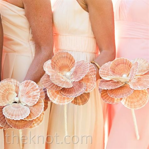 #Seashell Bridesmaid Bouquets for peach beach wedding... Wedding ideas for brides, grooms, parents & planners ... https://itunes.apple.com/us/app/the-gold-wedding-planner/id498112599?ls=1=8 … plus how to organise an entire wedding ♥ The Gold Wedding Planner iPhone App ♥