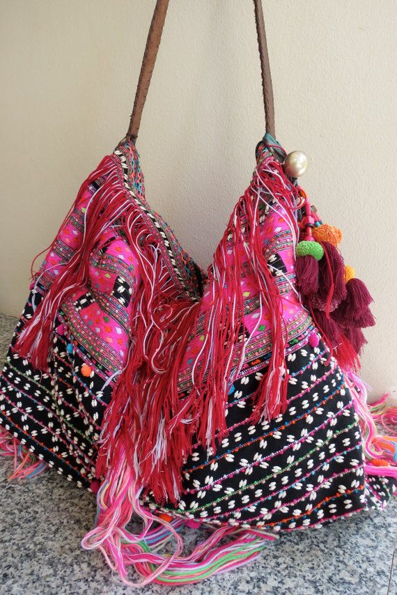 Ethnic Handmade Handbags- vintage fabric- Tote-bohemian bags and purses-from Thailand