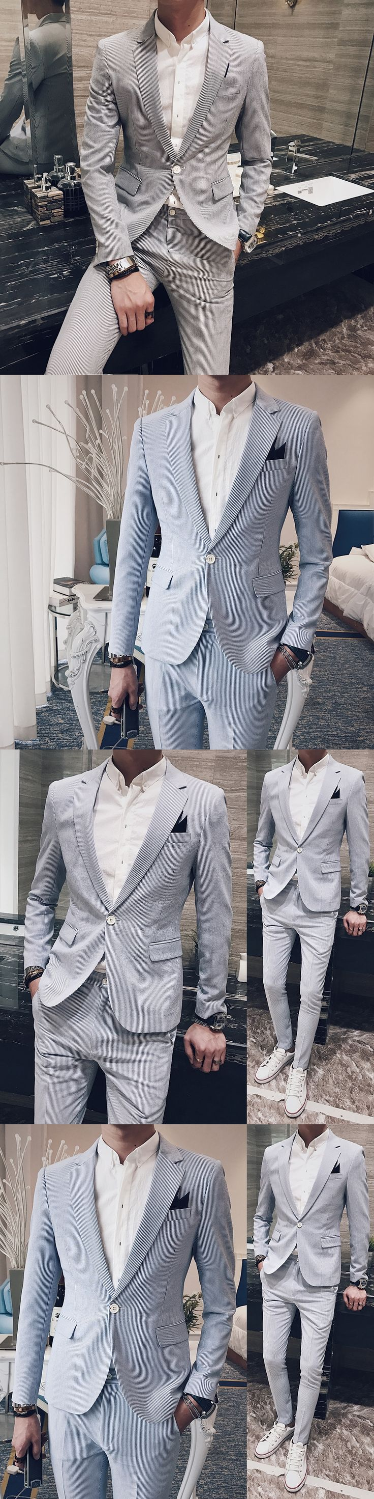 Mens Stripe Suits 2017 Mens Blazer Slim Fit Social Club Sky Blue Grey Formal Dresses Slim Fit Suit For Mens Blazer Hombre Formal