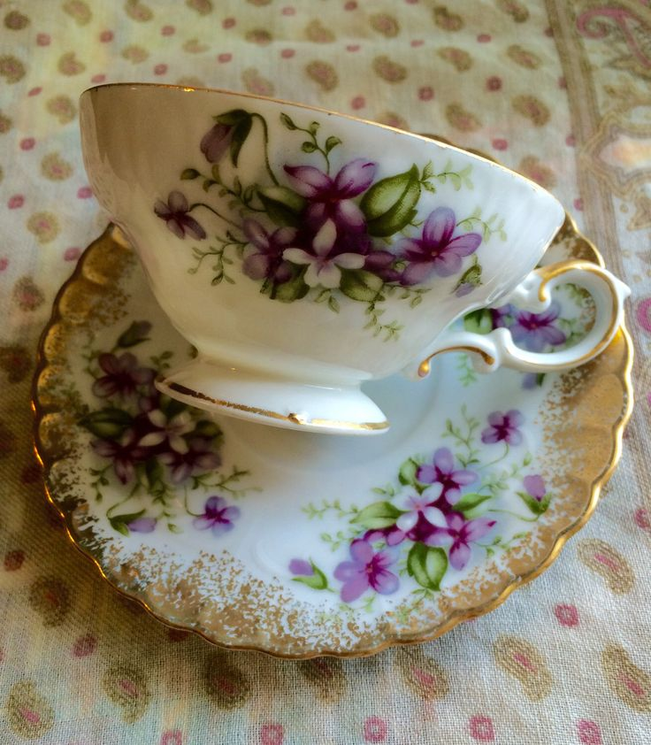 Beautiful Purple and Gold Cup and Saucer by Royal Sealy China by ApricotParasol on Etsy https://www.etsy.com/listing/232134307/beautiful-purple-and-gold-cup-and-saucer
