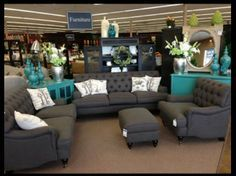 Gray and teal furniture