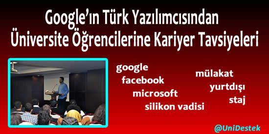 Google'da çalışan Türk mühendisten üniversitelilere ÖNEMLİ #kariyer tavsiyeleri.  http://unidestek.net/googlein-turk-yazilimcisi-soner-yilmazdan-kariyer-tavsiyeleri/