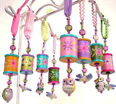 Decorated spools- These have potential for Christmas ornaments too!
